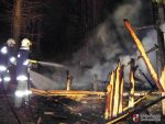 Brand einer Holzhütte in Haid