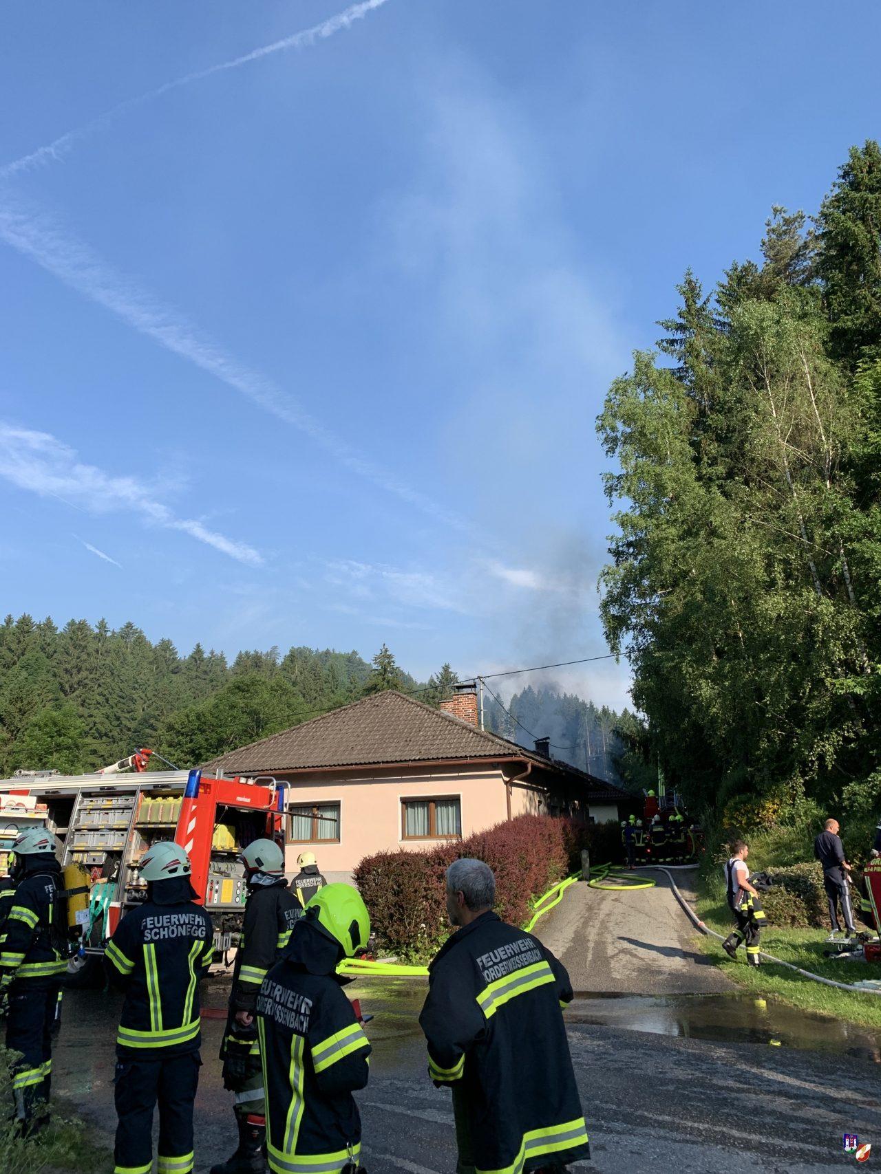 Dachstuhlbrand in Vorderweißenbach